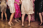 Group of young women dancing at wedding party - Stock Image - BHY76F