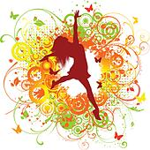 Silhouette of a happy female on a floral background - Stock Image - DNP2FD