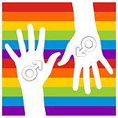male sign in hands over gay flag - Stock Image - C180CN