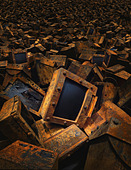 Pile of discarded computers - Stock Image - AP393B