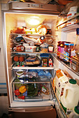 fridge freezer fridge healthy food diet food - Stock Image - AM0E9K