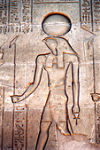 Relief carving of Ra, the Sun God, Karnak Temple, Luxor, Egypt - Stock Image - AX6XG7