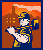 factory worker with sledgehammer with buildings in the background done in retro style illustration - Stock Image - BR6GBH