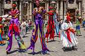 Street Entertainers Dancing On Stilts, Old Havana, Havana, Cuba - Stock Image - DN42C1
