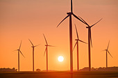 Wind Turbines at Sunset - Stock Image - C6ED6W