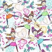 Christmas vector seamless pattern with skating girls - Stock Image - DKHR6X