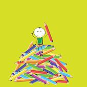 Happy colorful kids on many colorful crayon - Stock Image - DNNGAK