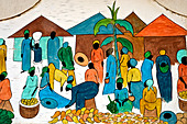 Artistic detail of colorful drawing depicting African life - Stock Image - CR83YP