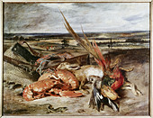 """fine arts, Delacroix, Eugene (1798 - 1863), painting, ""Still Life with Lobsters"", 1826/1827, oil on canvas, Louvre, Paris, Fr - Stock Image - AMDJ2J"
