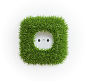 Grass covered outlet - renewable energy concept - Stock Image - CP68TM