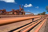 Old site of BHP Iron Ore, now known as BHP Billion, a British-Australian mining group, Port Hedland, Western Australia - Stock Image - CRDK8J