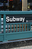 Urban Scene of a Subway Entrance Sign in New York City USA Copy Space - Stock Image - B4BFK4