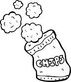 cartoon potato chips - Stock Image - DKT354