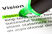 The word 'Vision' highlighted in green with felt tip pen - Stock Image - C3TE9N