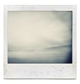 Designed grungy instant film frame with abstract filling isolated on white, kind of background, vintage hard grain effect added - Stock Image - CN5NE6