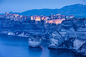 Bonifacio at dawn, Corsica, France - Stock Image - CPX444