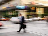 Canada Ontario Toronto pedestrian crossing street in the financial district of the city - Stock Image - AEBTJN