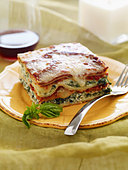 Serving of Veggie Lasagna - Stock Image - BJMCA4