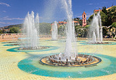Fountains at Place Massena in downtown Nice on the French Riviera (Cote d'Azur) - Stock Image - BNKANX