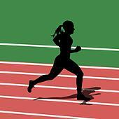 Running silhouettes in sport stadium. Vector illustration. - Stock Image - DNM0A8