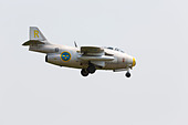 SAAB J29F Tunnan of the Swedish air force on approach to RAF Waddington Airshow 2013 - Stock Image - DAB6FM