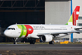 TAP Portugal Airbus A320 taxiing for departure at London Heathrow Airport, United Kingdom - Stock Image - B8F1DG