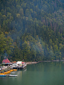 Populous embankment on a Ritsa Lake in Caucasian Mountains in Abkhazia - Stock Image - ARXD4P