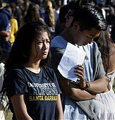 epa04228914 UCSB students attend a memorial event for the six UCSB students killed and 13 wounded in a shooting rampage in the college town of Isla Vista, at Harder Stadium at the University of California in Goleta, California, USA, 27 May 2014. The suspected gunman, 22-year-old student Elliot Rodger, killed six people and wounded 13 as he drove through the college town shooting as well as running over victims in his BMW car before he died from a self-inflicted wound. Over 18,000 people mainly students attended the memorial service.  EPA/MICHAEL NELSON - Stock Image - E1CHKD