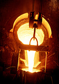 Ironworks Steel and Iron Production Factory Industry Tapping of Smelter Raw Iron - Stock Image - AAYKGK