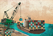 Shipping industry with loading binary code containers on ship representing the concept of software export - Stock Image - D398JT