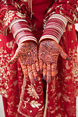 Ornate Indian decoration on Caucasian woman's hands - Stock Image - C3G312