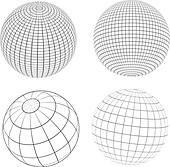 Various designs of wireframe globes - Stock Image - DNP3TP