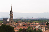 church and village cornas rhone france - Stock Image - C0W2WT