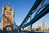 England, London, Southwark, Tower Bridge and The Shard - Stock Image - CTHD8A