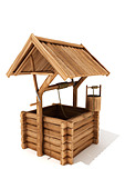 Wooden wishing well - Stock Image - A7HX6R