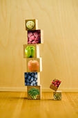 floating food blocks to show the building blocks of your diet. - Stock Image - BR5M08
