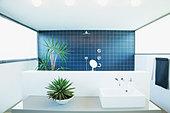 Open shower in modern bathroom - Stock Image - C90EA8