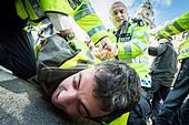 London, UK. 11th Oct, 2014.  Kurdish protesters clash with Met Police 2014 © Guy Corbishley/Alamy Live News - Stock Image - E8N8RY