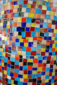 Closeup Detail of Vibrantly Colored Tiled Column - Stock Image - B4BFPG