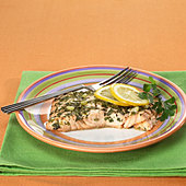 Close up of salmon entree - Stock Image - B2BG9C