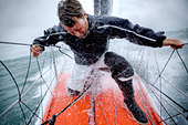 Onboard the IMOCA Racing Hugo Boss during a training session before the Vendee Globe in the English Channel. - Stock Image - E1G5HH