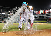 Arlington, Texas, USA. 30th July, 2015. Texas Rangers left fielder Josh Hamilton #32 is showered after hitting a walk off single to left field after an MLB game between the New York Yankees and the Texas Rangers at Globe Life Park in Arlington, TX Texas defeated New York 7-6 © Cal Sport Media/Alamy Live News - Stock Image - EYJJYA