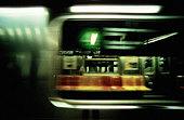 Empty seats in a subway train. (NYC, New York, USA) - Stock Image - A5TF68