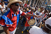 Afrocuban carnival group Los componedores de batea performing in the streets of La Habana Vieja Havana Cuba - Stock Image - B2P35K