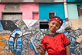 Boy ready for a performance in the streets of La Habana, Cuba, Caribbean. - Stock Image - BYRWJ4