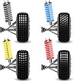 Set front car suspension, frontal view. Vector Illustration - Stock Image - DNM08R