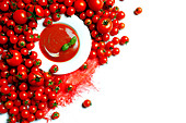 Tomatoes and tomato soup, elevated view - Stock Image - B6CRMY