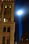 Beams of Light at Ground Zero World Trade Center Symbolizing Twin Towers in New York City USA on September 11 2008 Copy Space - Stock Image - B4BG5D