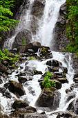 River in Caucasus mountains, near lake Ritsa, Abkhazia, Georgia - Stock Image - EFN9GX
