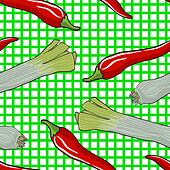 Seamless vegetable pattern leek and red pepper vector illustration - Stock Image - DNKYFN
